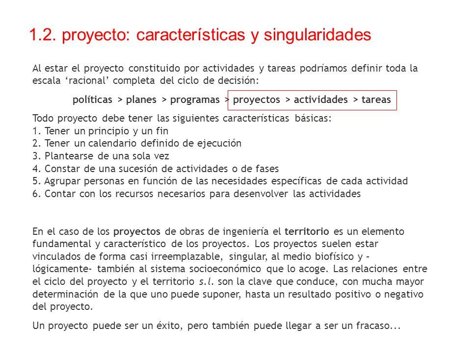 1.2. proyecto: características y singularidades Al estar el proyecto constituido por actividades y tareas podríamos definir toda la escala racional co