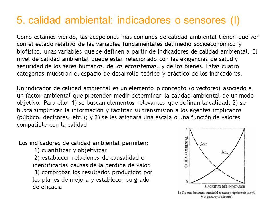5. calidad ambiental: indicadores o sensores (I) Como estamos viendo, las acepciones más comunes de calidad ambiental tienen que ver con el estado rel