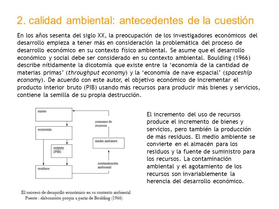 2. calidad ambiental: antecedentes de la cuestión En los años sesenta del siglo XX, la preocupación de los investigadores económicos del desarrollo em