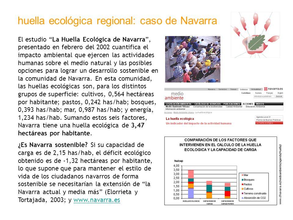 huella ecológica regional: caso de Navarra El estudio La Huella Ecológica de Navarra, presentado en febrero del 2002 cuantifica el impacto ambiental q