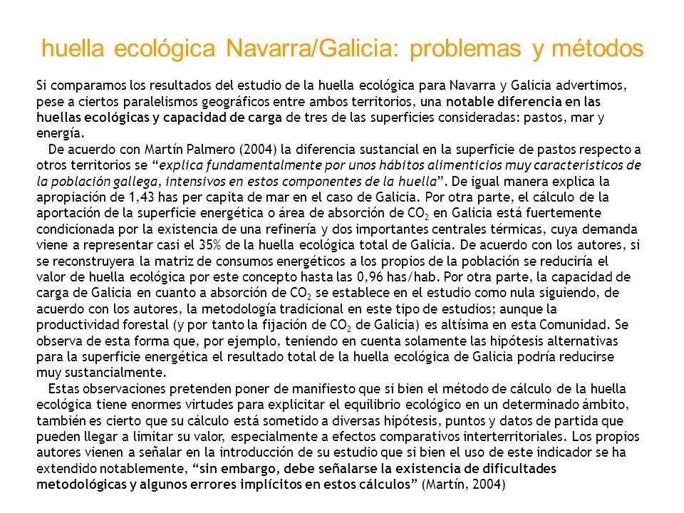 huella ecológica Navarra/Galicia: problemas y métodos Si comparamos los resultados del estudio de la huella ecológica para Navarra y Galicia advertimo