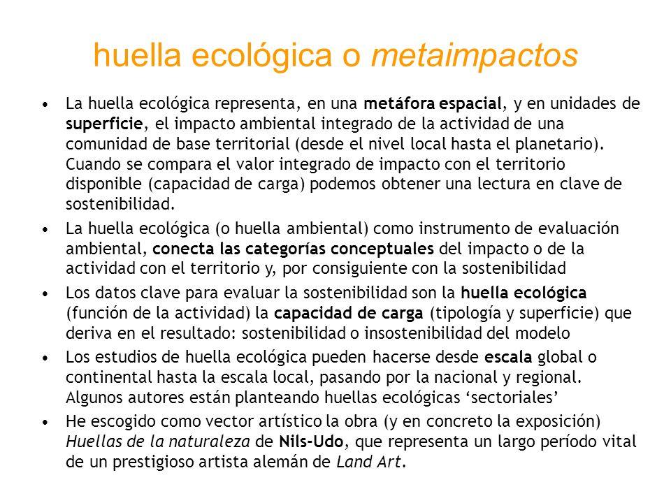 huella ecológica o metaimpactos La huella ecológica representa, en una metáfora espacial, y en unidades de superficie, el impacto ambiental integrado