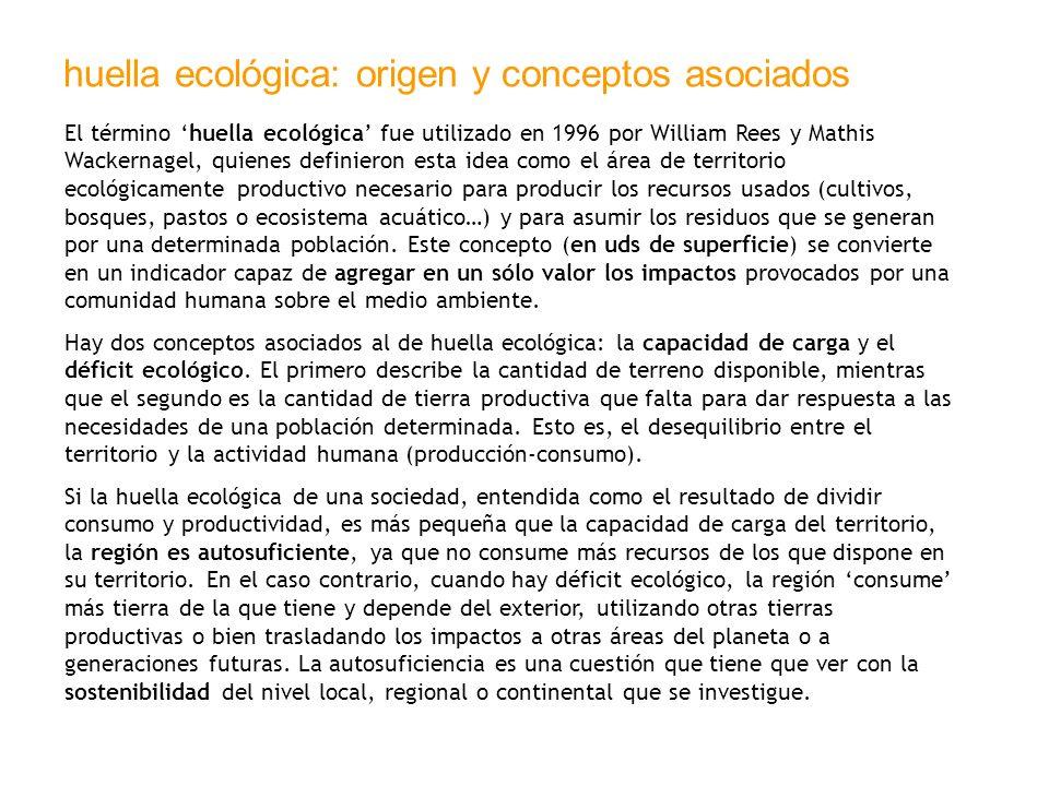 huella ecológica: origen y conceptos asociados El término huella ecológica fue utilizado en 1996 por William Rees y Mathis Wackernagel, quienes defini
