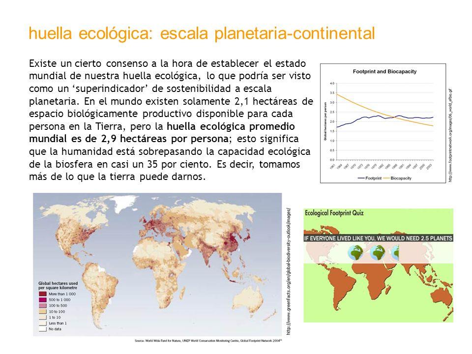 huella ecológica: escala planetaria-continental Existe un cierto consenso a la hora de establecer el estado mundial de nuestra huella ecológica, lo qu