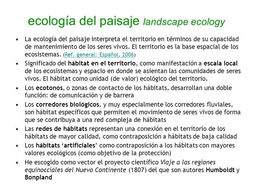 ecología del paisaje landscape ecology La ecología del paisaje interpreta el territorio en términos de su capacidad de mantenimiento de los seres vivo