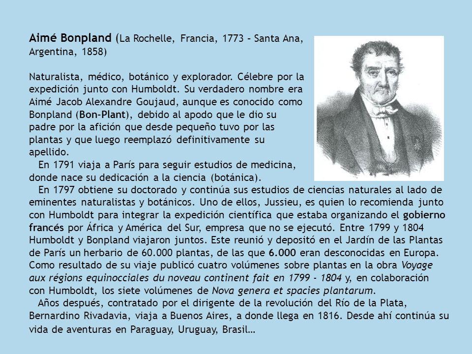 Aimé Bonpland ( La Rochelle, Francia, 1773 – Santa Ana, Argentina, 1858) Naturalista, médico, botánico y explorador. Célebre por la expedición junto c