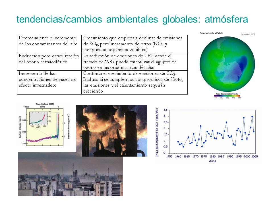 tendencias/cambios ambientales globales: atmósfera
