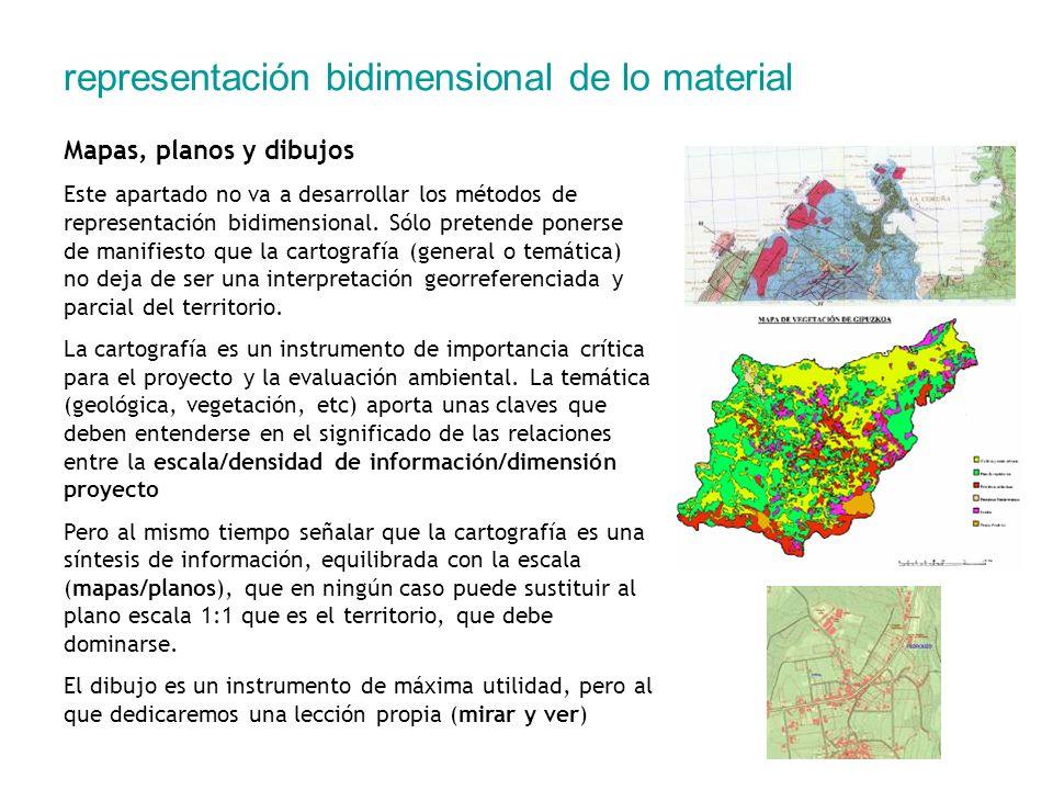 representación bidimensional de lo material Mapas, planos y dibujos Este apartado no va a desarrollar los métodos de representación bidimensional. Sól