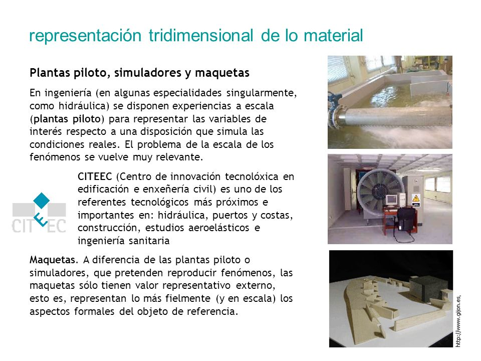representación tridimensional de lo material Plantas piloto, simuladores y maquetas En ingeniería (en algunas especialidades singularmente, como hidrá