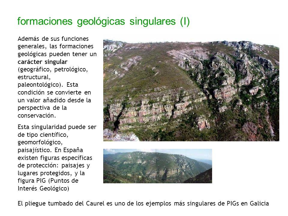 formaciones geológicas singulares (I) Además de sus funciones generales, las formaciones geológicas pueden tener un carácter singular (geográfico, pet
