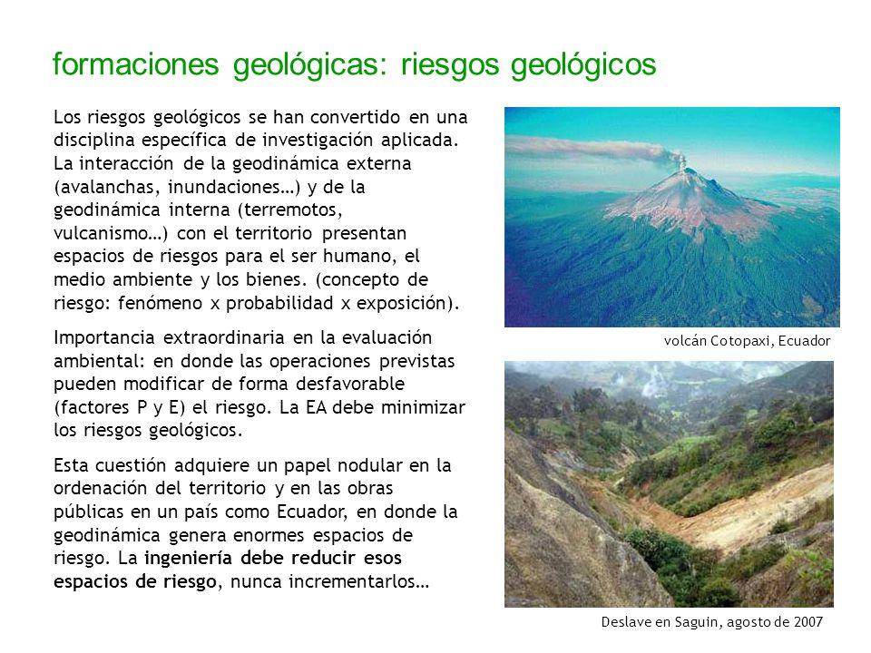 formaciones geológicas: riesgos geológicos Los riesgos geológicos se han convertido en una disciplina específica de investigación aplicada. La interac