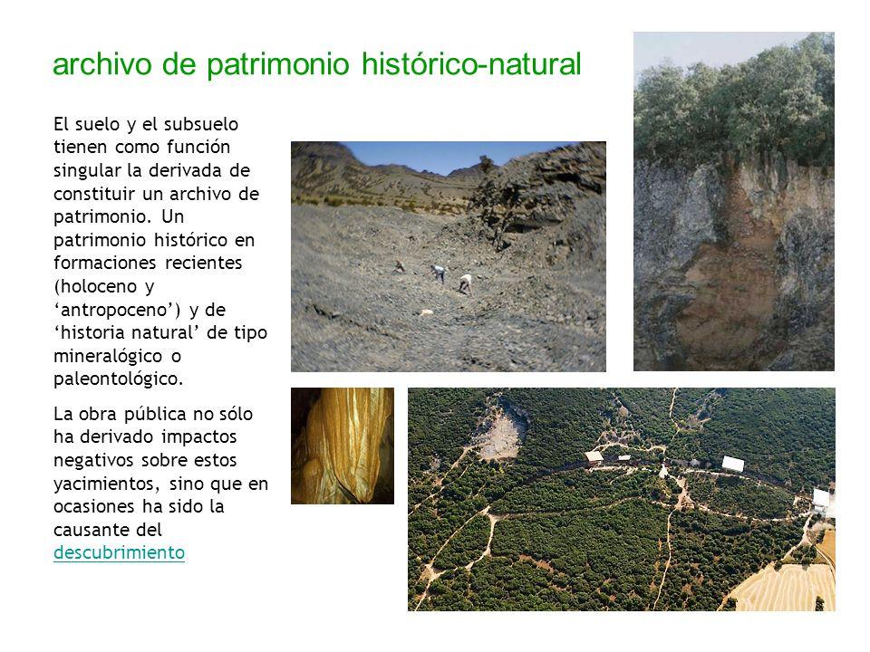 archivo de patrimonio histórico-natural El suelo y el subsuelo tienen como función singular la derivada de constituir un archivo de patrimonio. Un pat