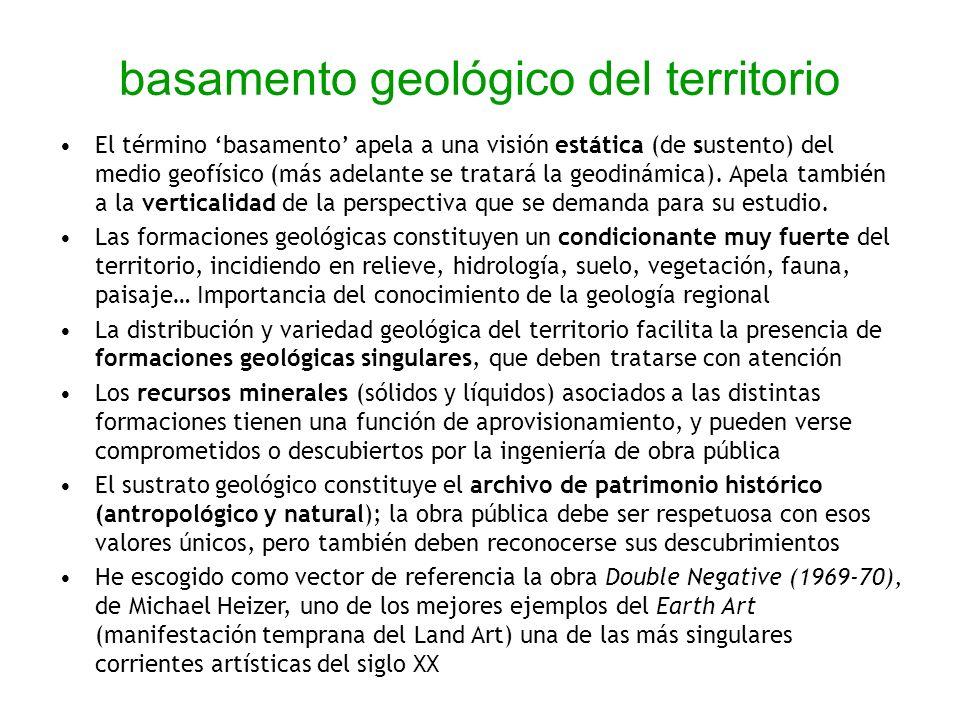 basamento geológico del territorio El término basamento apela a una visión estática (de sustento) del medio geofísico (más adelante se tratará la geod