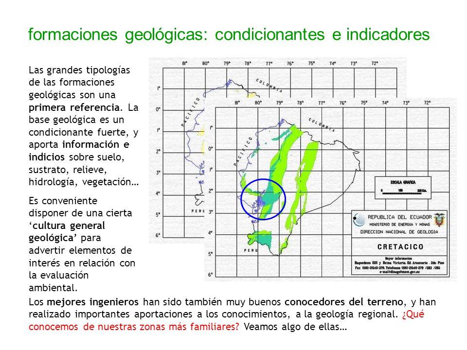 formaciones geológicas: condicionantes e indicadores Las grandes tipologías de las formaciones geológicas son una primera referencia. La base geológic
