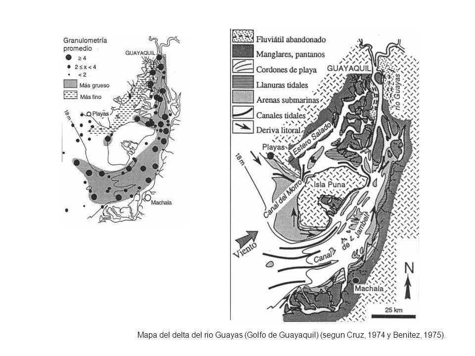 Mapa del delta del rio Guayas (Golfo de Guayaquil) (segun Cruz, 1974 y Benitez, 1975).