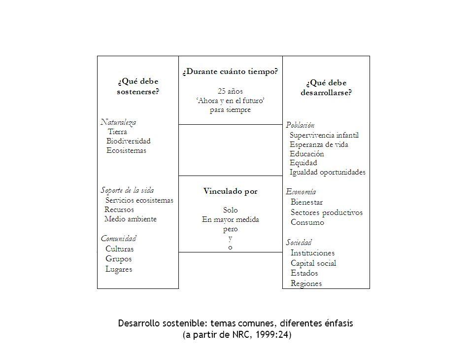 Desarrollo sostenible: temas comunes, diferentes énfasis (a partir de NRC, 1999:24)