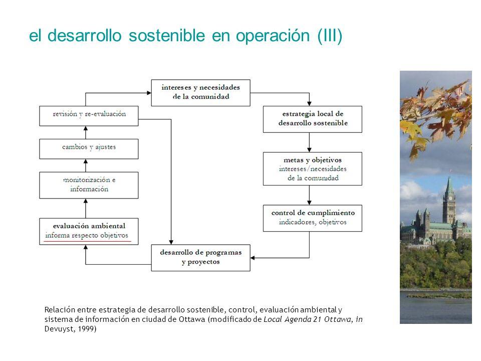 el desarrollo sostenible en operación (III) Relación entre estrategia de desarrollo sostenible, control, evaluación ambiental y sistema de información
