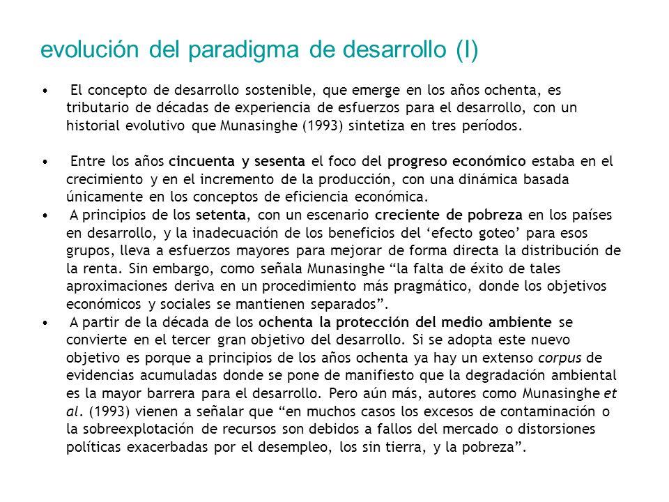 evolución del paradigma de desarrollo (I) El concepto de desarrollo sostenible, que emerge en los años ochenta, es tributario de décadas de experienci