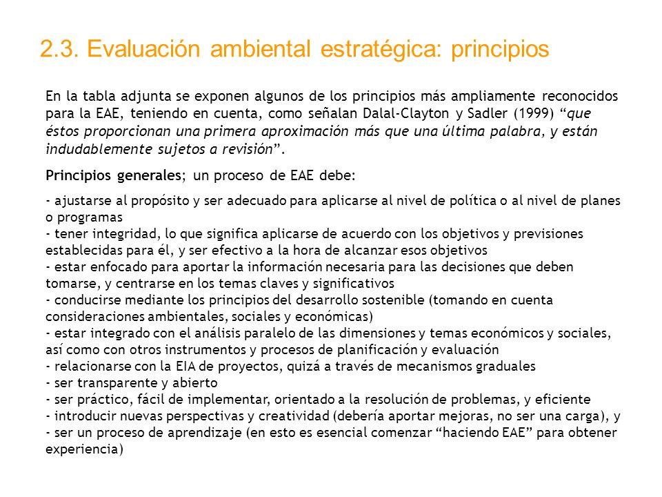 2.3. Evaluación ambiental estratégica: principios En la tabla adjunta se exponen algunos de los principios más ampliamente reconocidos para la EAE, te