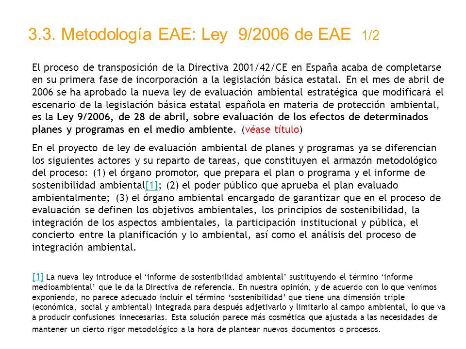 3.3. Metodología EAE: Ley 9/2006 de EAE 1/2 El proceso de transposición de la Directiva 2001/42/CE en España acaba de completarse en su primera fase d