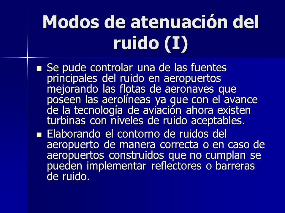 Modos de atenuación del ruido (I) Se pude controlar una de las fuentes principales del ruido en aeropuertos mejorando las flotas de aeronaves que pose