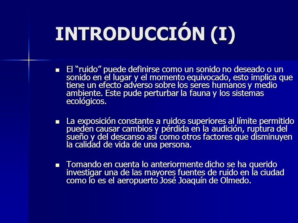 INTRODUCCIÓN (I) El ruido puede definirse como un sonido no deseado o un sonido en el lugar y el momento equivocado, esto implica que tiene un efecto