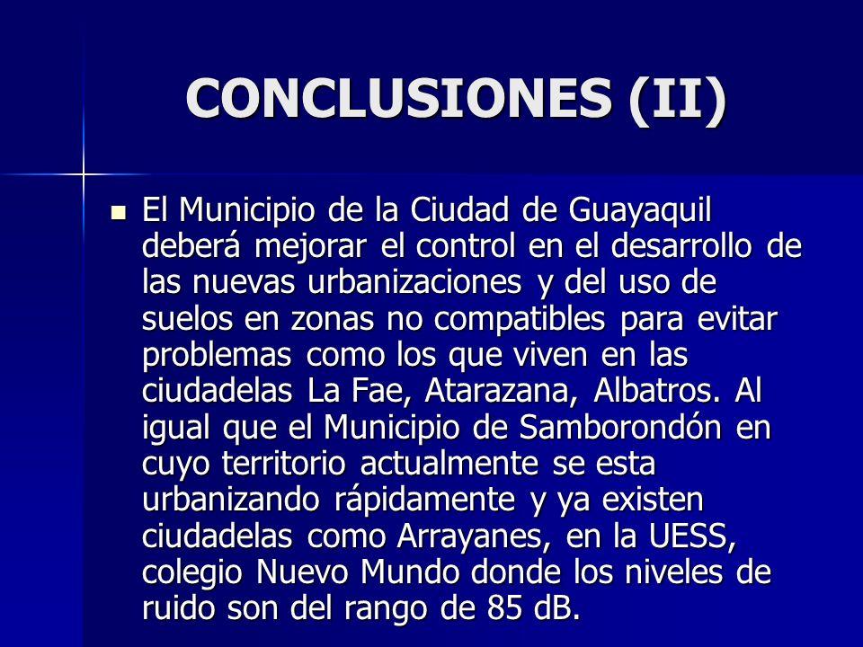 CONCLUSIONES (II) El Municipio de la Ciudad de Guayaquil deberá mejorar el control en el desarrollo de las nuevas urbanizaciones y del uso de suelos e