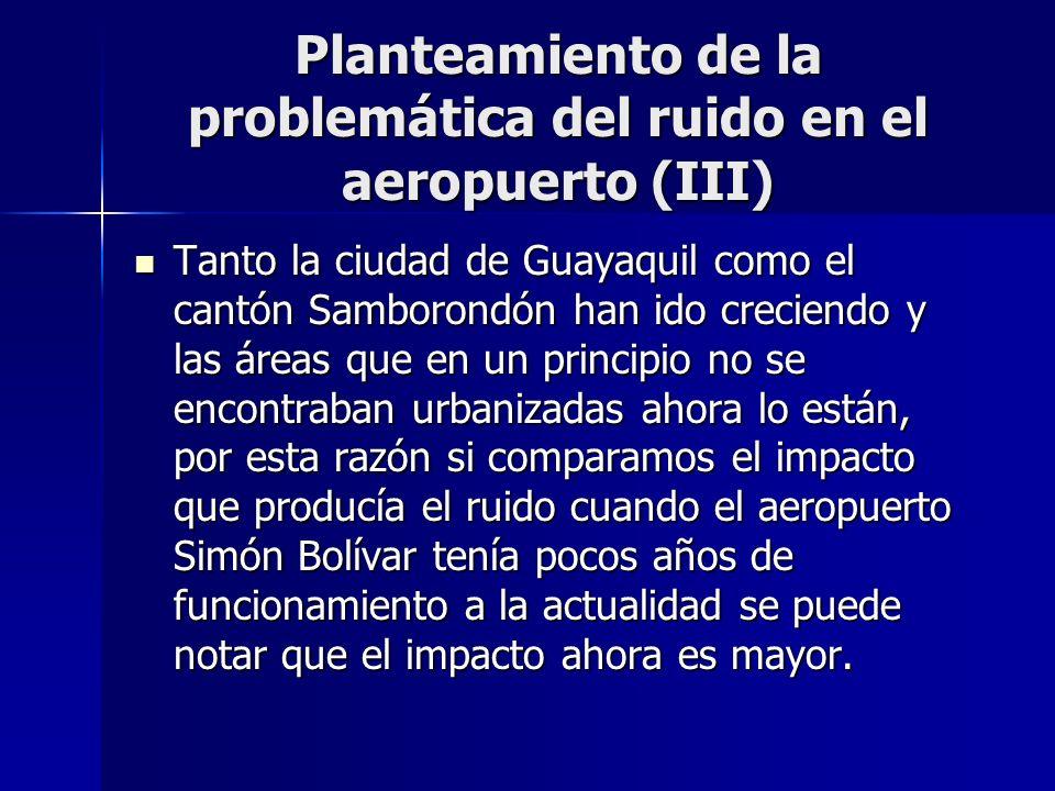 Planteamiento de la problemática del ruido en el aeropuerto (III) Tanto la ciudad de Guayaquil como el cantón Samborondón han ido creciendo y las área