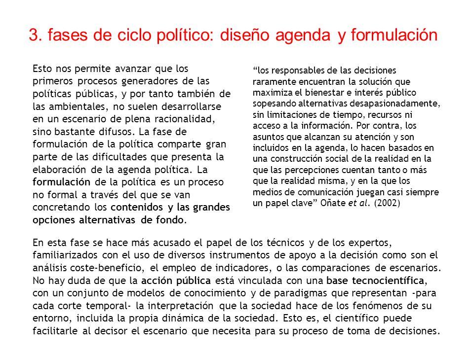 3. fases de ciclo político: diseño agenda y formulación Esto nos permite avanzar que los primeros procesos generadores de las políticas públicas, y po