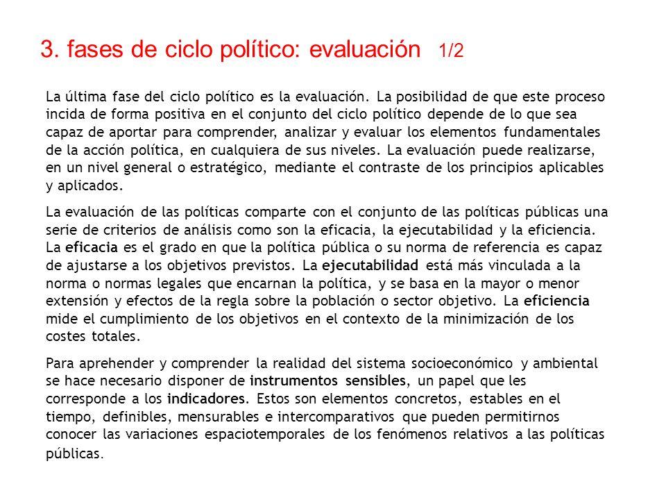 3. fases de ciclo político: evaluación 1/2 La última fase del ciclo político es la evaluación. La posibilidad de que este proceso incida de forma posi