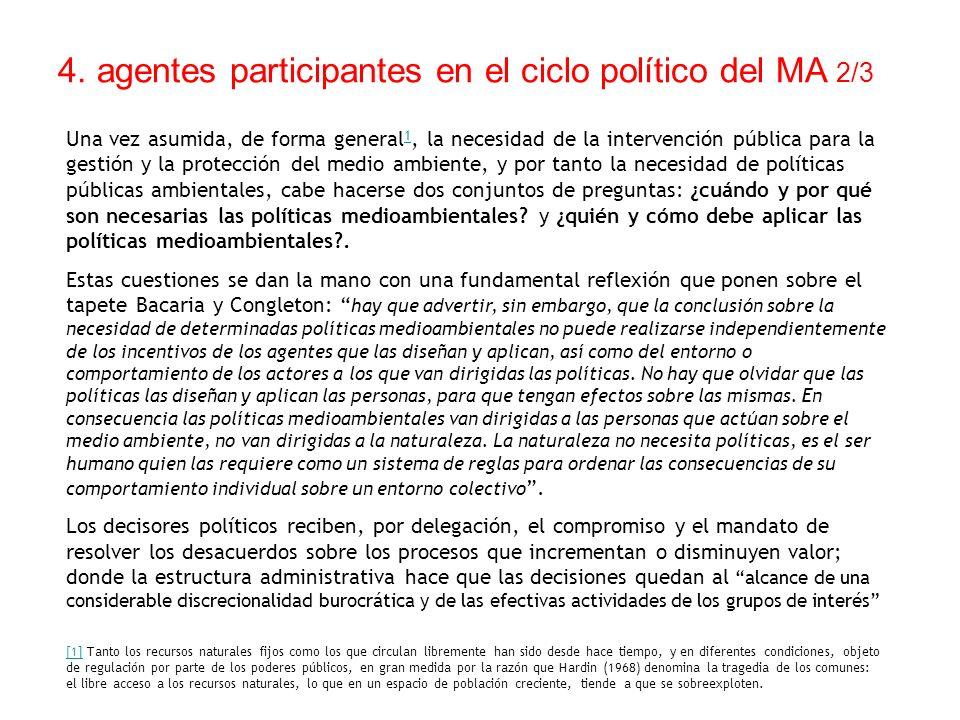 4. agentes participantes en el ciclo político del MA 2/3 Una vez asumida, de forma general 1, la necesidad de la intervención pública para la gestión