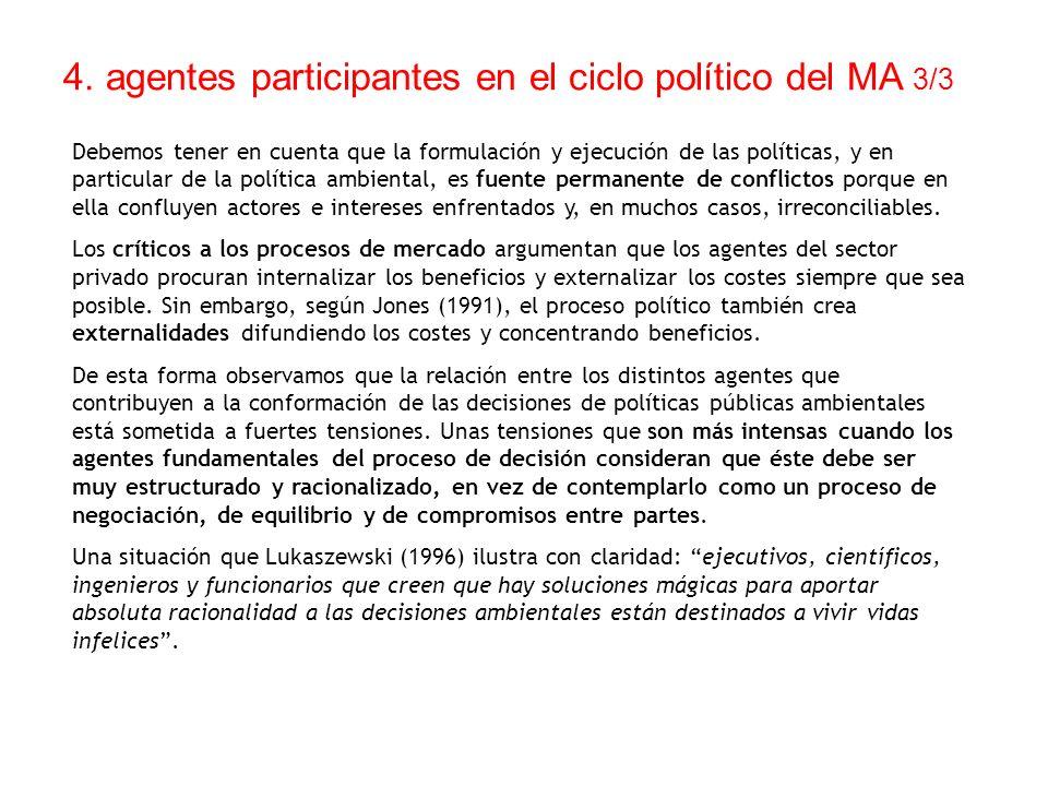 4. agentes participantes en el ciclo político del MA 3/3 Debemos tener en cuenta que la formulación y ejecución de las políticas, y en particular de l