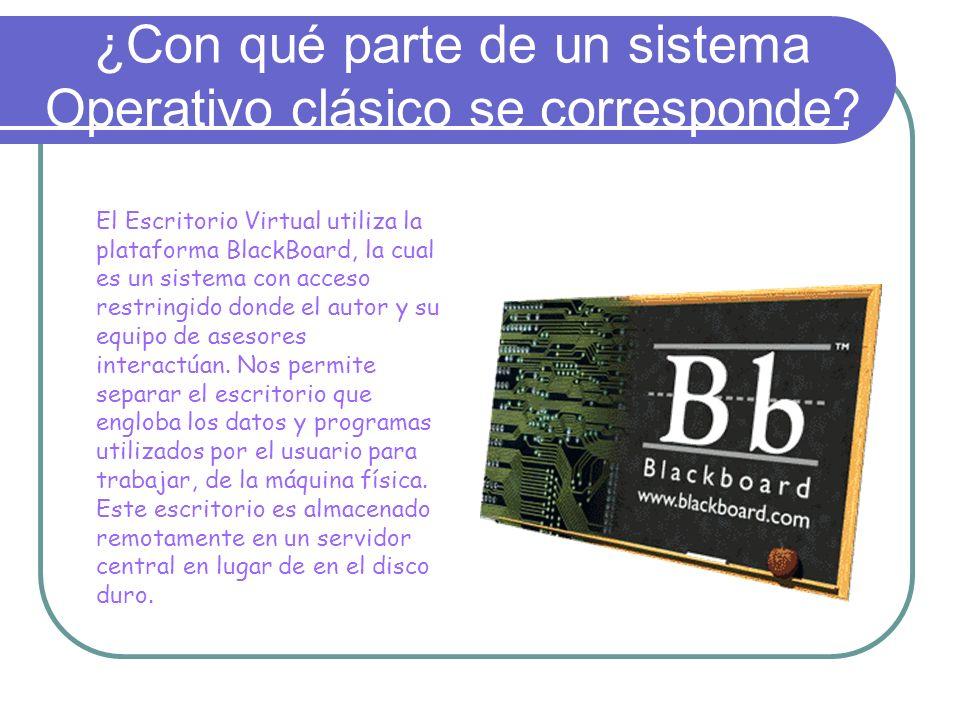 ¿Con qué parte de un sistema Operativo clásico se corresponde? El Escritorio Virtual utiliza la plataforma BlackBoard, la cual es un sistema con acces