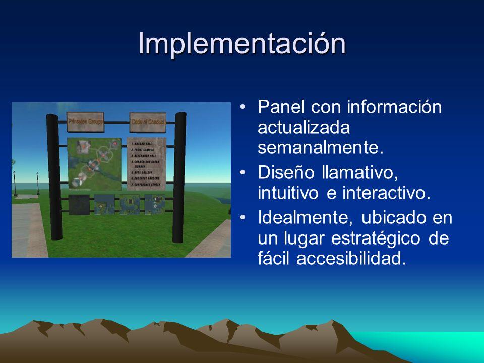 Implementación Panel con información actualizada semanalmente.