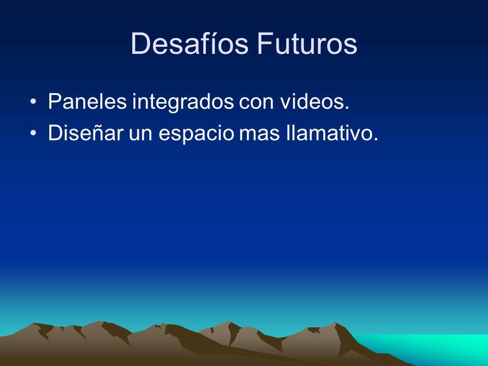Desafíos Futuros Paneles integrados con videos. Diseñar un espacio mas llamativo.