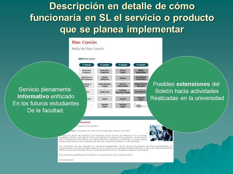 Descripción en detalle de cómo funcionaría en SL el servicio o producto que se planea implementar Servicio plenamente Informativo enfocado En los futu