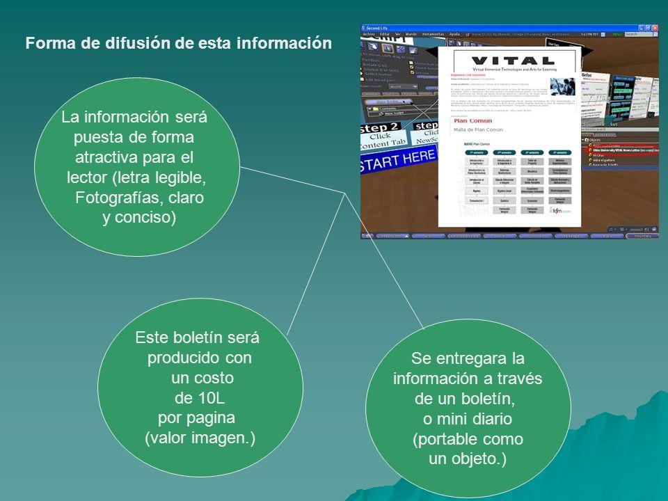 Forma de difusión de esta información Se entregara la información a través de un boletín, o mini diario (portable como un objeto.) Este boletín será p