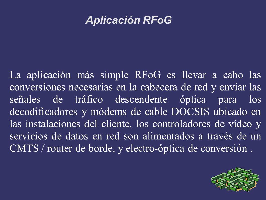 Aplicación RFoG La aplicación más simple RFoG es llevar a cabo las conversiones necesarias en la cabecera de red y enviar las señales de tráfico desce