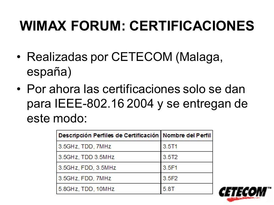 WIMAX FORUM: CERTIFICACIONES Realizadas por CETECOM (Malaga, españa) Por ahora las certificaciones solo se dan para IEEE-802.16 2004 y se entregan de