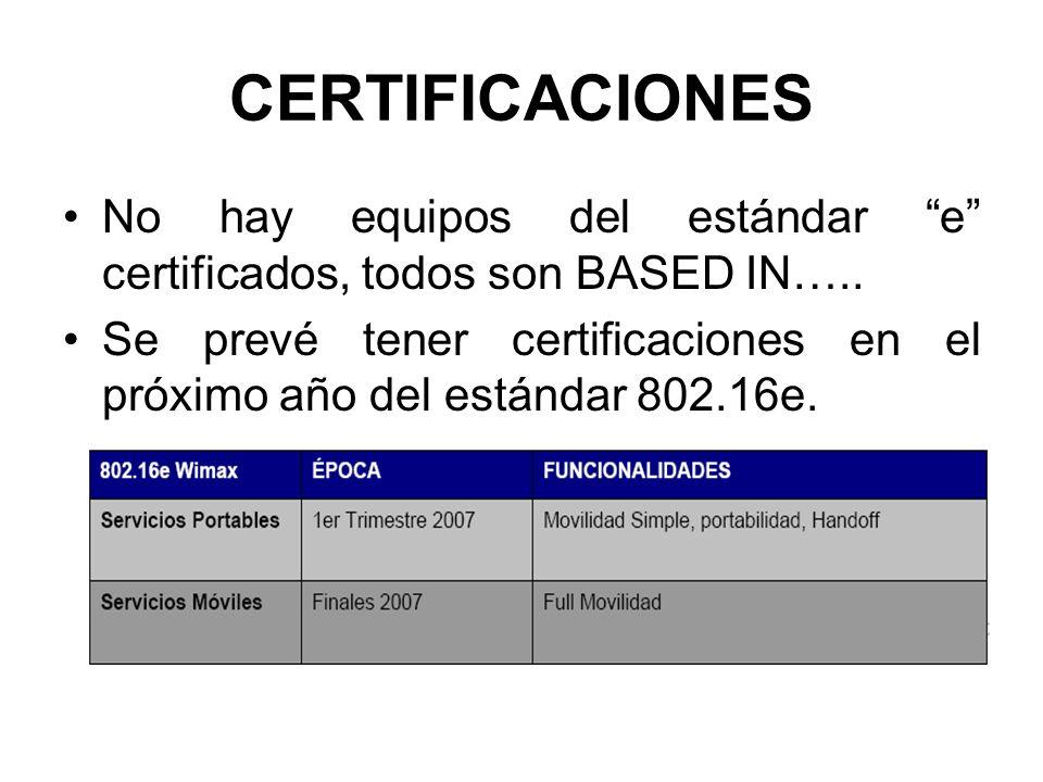 CERTIFICACIONES No hay equipos del estándar e certificados, todos son BASED IN….. Se prevé tener certificaciones en el próximo año del estándar 802.16