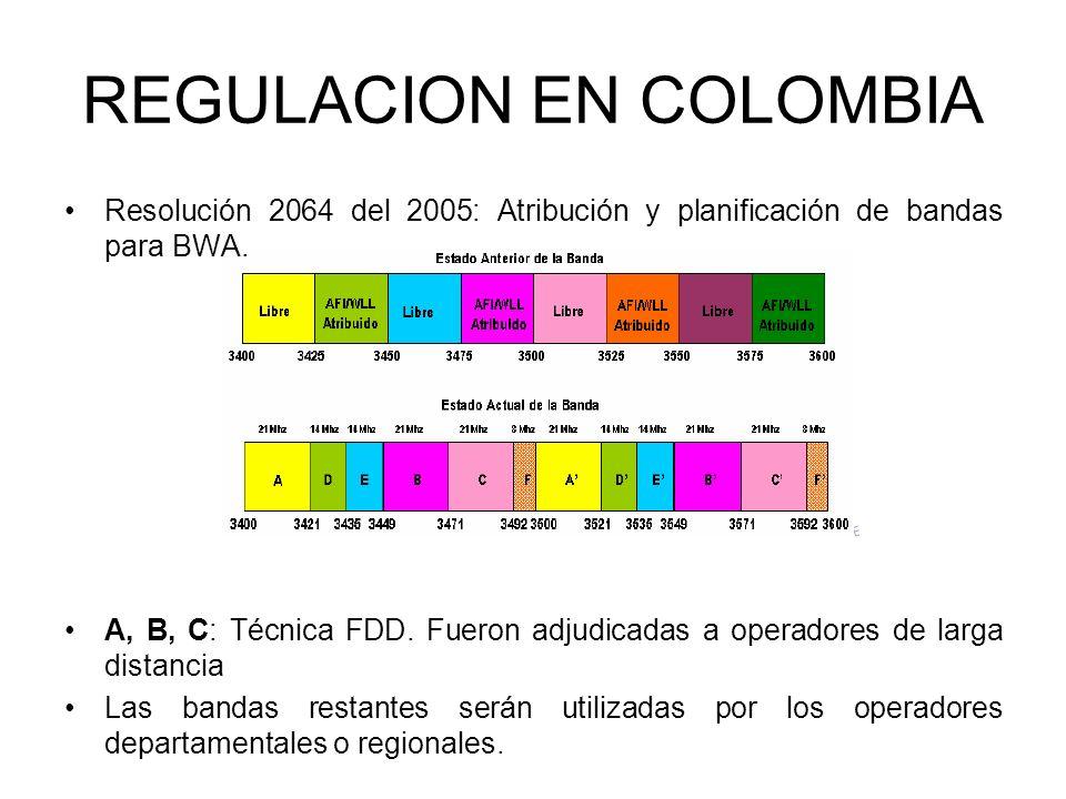 Resolución 2064 del 2005: Atribución y planificación de bandas para BWA. A, B, C: Técnica FDD. Fueron adjudicadas a operadores de larga distancia Las