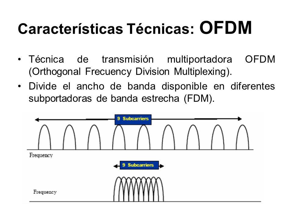Características Técnicas: OFDM Técnica de transmisión multiportadora OFDM (Orthogonal Frecuency Division Multiplexing). Divide el ancho de banda dispo