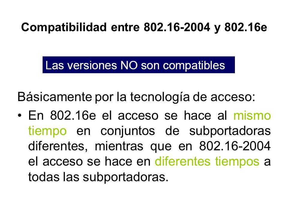 Compatibilidad entre 802.16-2004 y 802.16e Básicamente por la tecnología de acceso: En 802.16e el acceso se hace al mismo tiempo en conjuntos de subpo