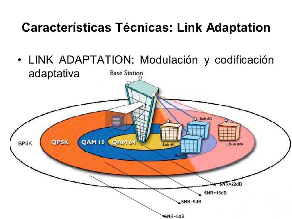 Características Técnicas: Link Adaptation LINK ADAPTATION: Modulación y codificación adaptativa