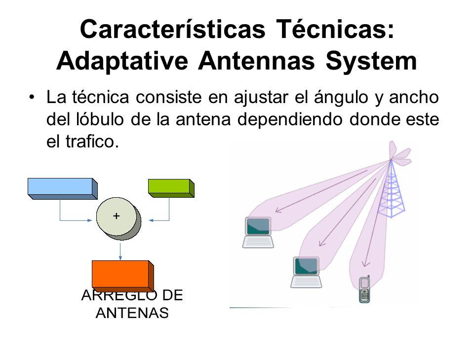 Características Técnicas: Adaptative Antennas System La técnica consiste en ajustar el ángulo y ancho del lóbulo de la antena dependiendo donde este e