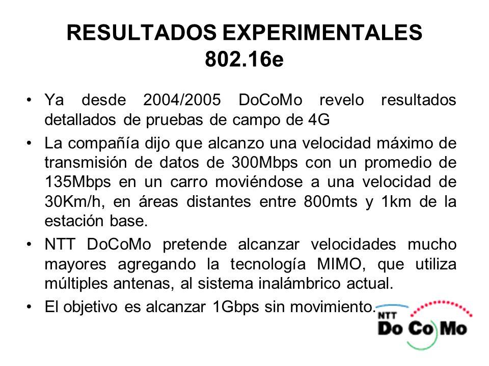 RESULTADOS EXPERIMENTALES 802.16e Ya desde 2004/2005 DoCoMo revelo resultados detallados de pruebas de campo de 4G La compañía dijo que alcanzo una ve