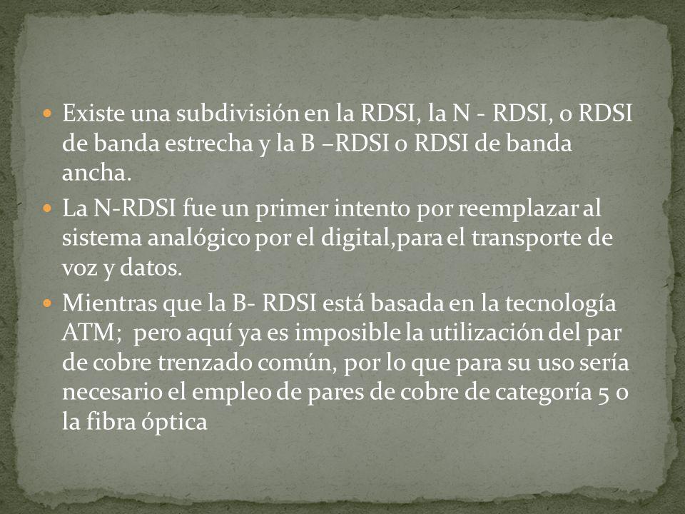 Existe una subdivisión en la RDSI, la N - RDSI, o RDSI de banda estrecha y la B –RDSI o RDSI de banda ancha. La N-RDSI fue un primer intento por reemp
