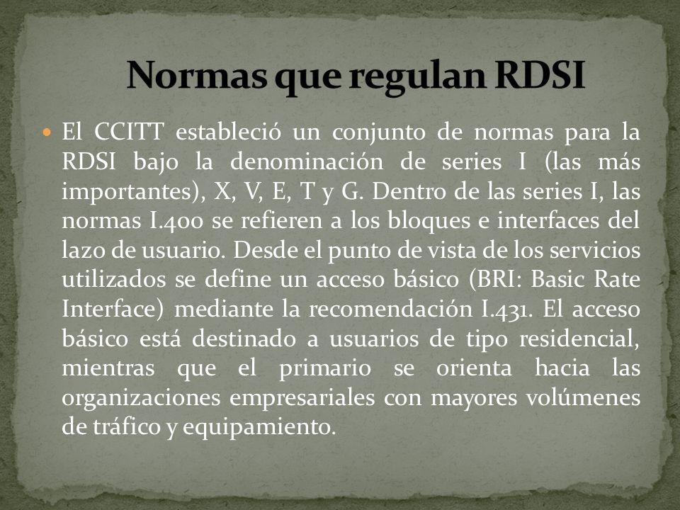El CCITT estableció un conjunto de normas para la RDSI bajo la denominación de series I (las más importantes), X, V, E, T y G. Dentro de las series I,
