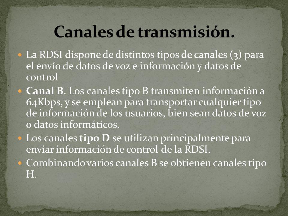 La RDSI dispone de distintos tipos de canales (3) para el envío de datos de voz e información y datos de control Canal B. Los canales tipo B transmite