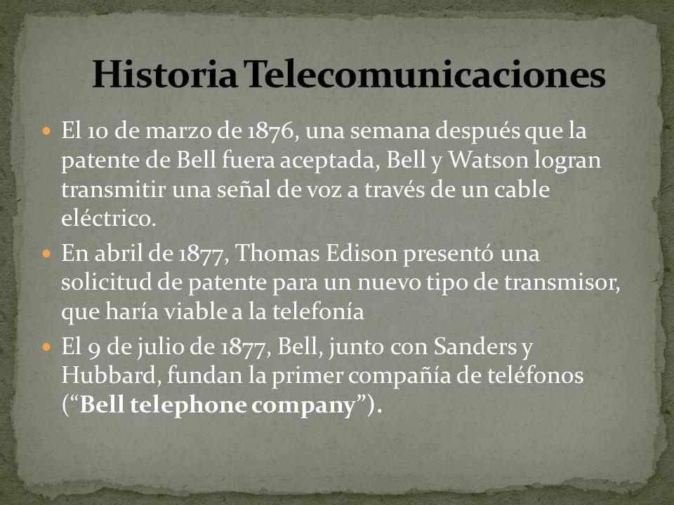 El 10 de marzo de 1876, una semana después que la patente de Bell fuera aceptada, Bell y Watson logran transmitir una señal de voz a través de un cabl